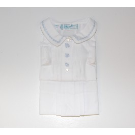 Feltman Brothers White Daygown with Blue Embroidery