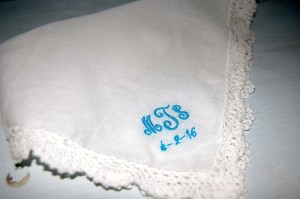 Lace handkerchief with initials and date