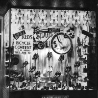 Haase's shoe store window in 1926. The bikes in the window were given away and raffled off in the Ked's Bicycle contest.